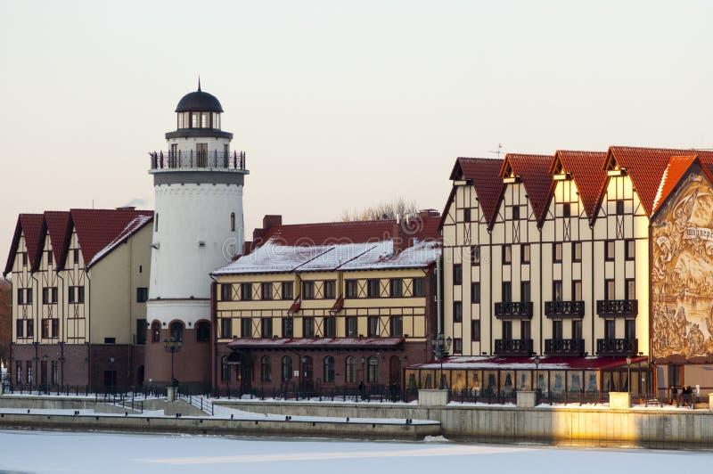 Ancient buildings in Kaliningrad stock photos