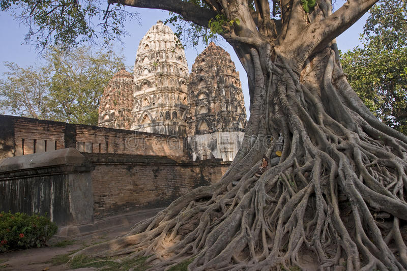 Ancient buildings temple in Sukhothai royalty free stock photography