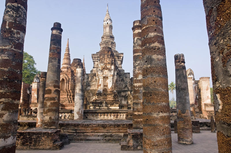 Ancient buildings temple in Sukhothai royalty free stock photo