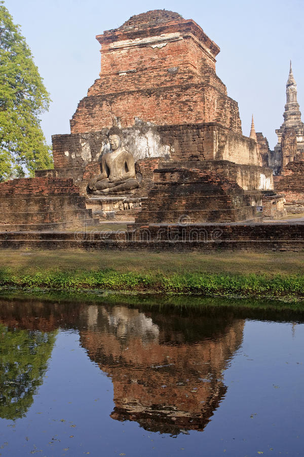 Ancient buildings temple in Sukhothai royalty free stock images