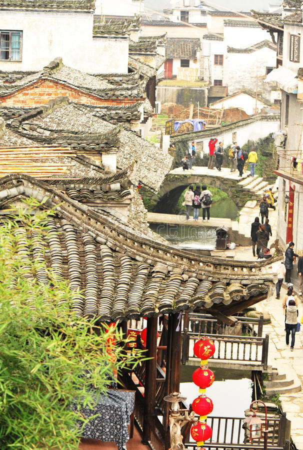 Ancient buildings at wuyuan stock photo