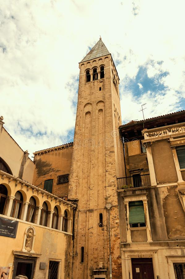 Ancient bulding in the medieval center of Venice stock photography