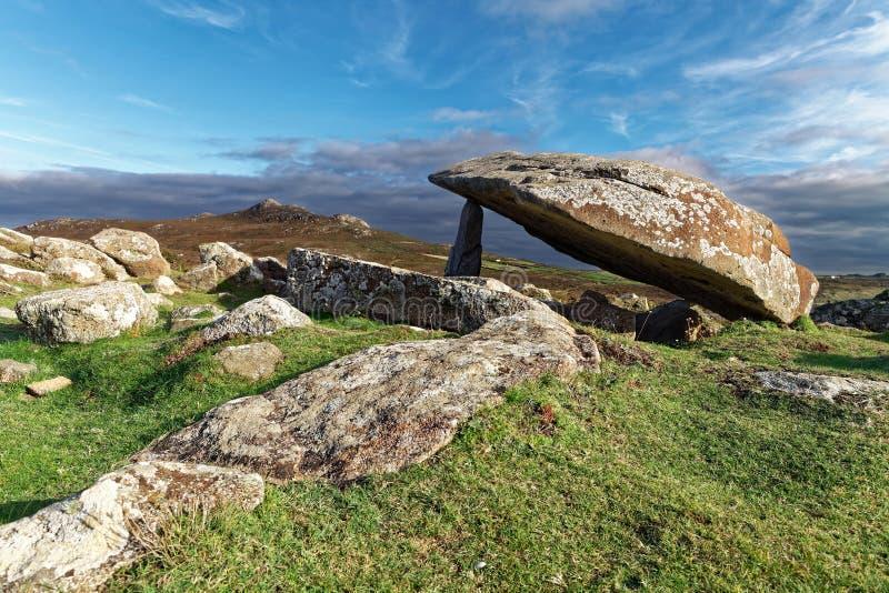 Ancient burial site. Coetan Arthur dolmen, ancient burial site near St Davids Head, Pembrokeshire royalty free stock photography