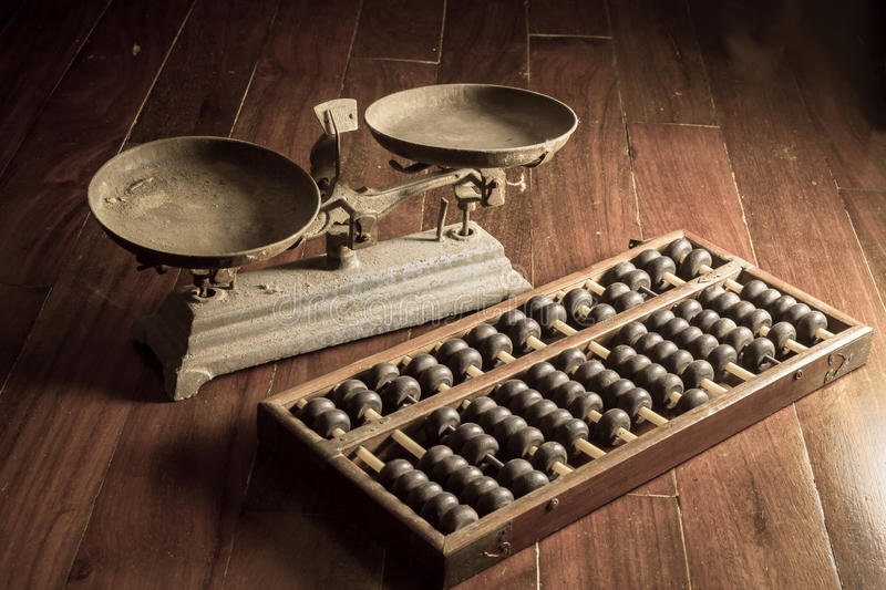 Ancient business tools,old scale and abacus royalty free stock photo