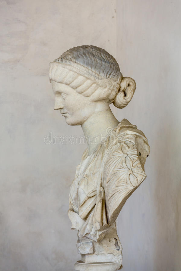 Ancient bust of the woman in the baths of Diocletian in Rome. Italy stock images