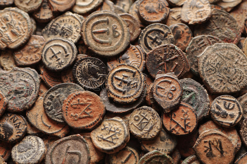 Ancient Byzantine copper coins top view royalty free stock photo