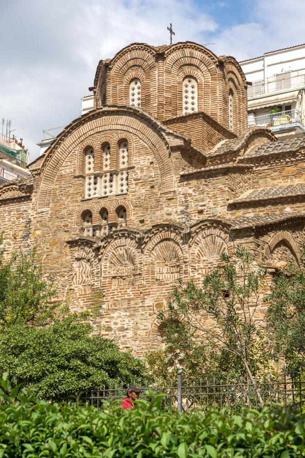 Ancient Byzantine Orthodox church of St. Panteleimon in the center of city of Thessalon. THESSALONIKI, GREECE - SEPTEMBER 30, 2017: Ancient Byzantine Orthodox royalty free stock image