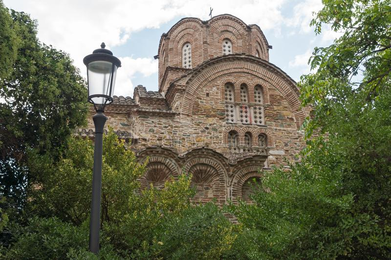 Ancient Byzantine Orthodox church of St. Panteleimon in the center of city of Thessaloniki, Greece. Ancient Byzantine Orthodox church of St. Panteleimon in the stock images