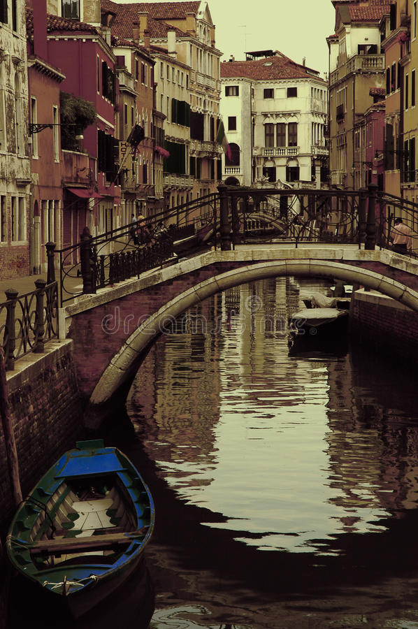 Ancient canal in Venice stock image