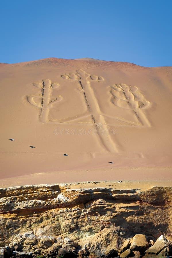 Ancient Candelabrum figure on sand. Ancient Candelabrum figure in Paracas National Park, Peru stock photo