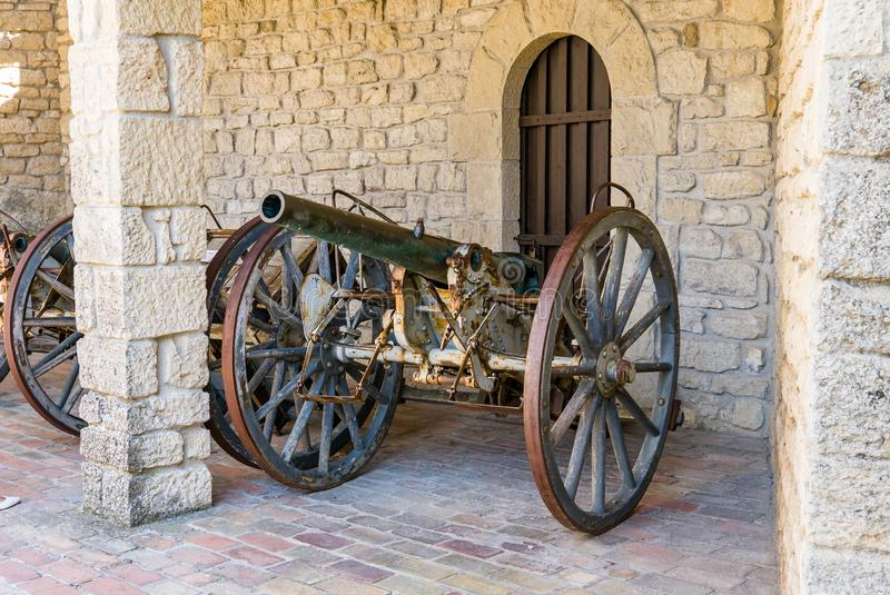 Ancient cannon inside the fortress known as Guaita or Rocca in San Marino royalty free stock images