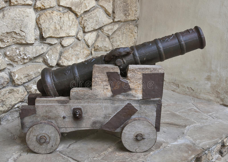 Ancient cannon on wooden carriage royalty free stock images