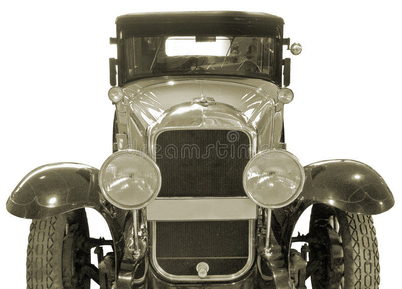 Ancient car. The antiquarian car isolated over white with clipping path royalty free stock image