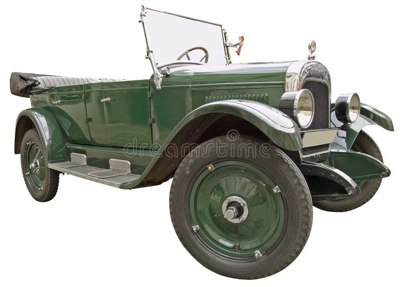 Ancient car. The antiquarian car isolated over white with clipping path stock images