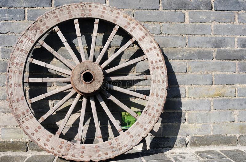 Ancient carriage wheel stock image