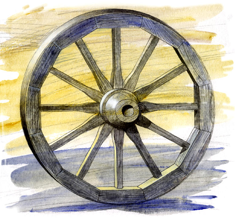 Ancient cart whee vector illustration