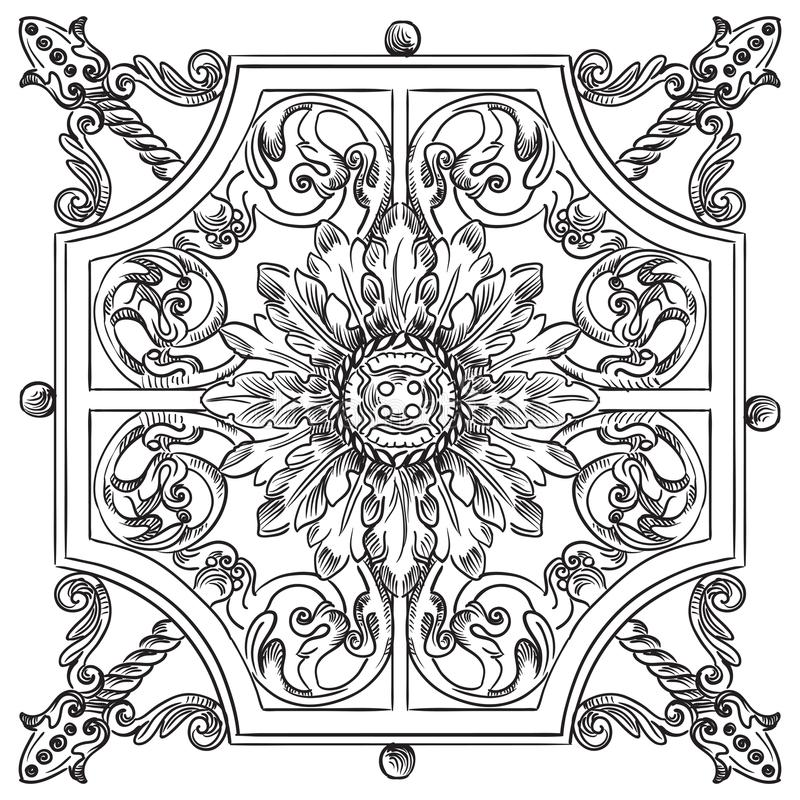 Vector old botanical lattice. Ancient carving botanical vignette from Moscow metro, vector hand drawing illustration in black color isolated on white background vector illustration
