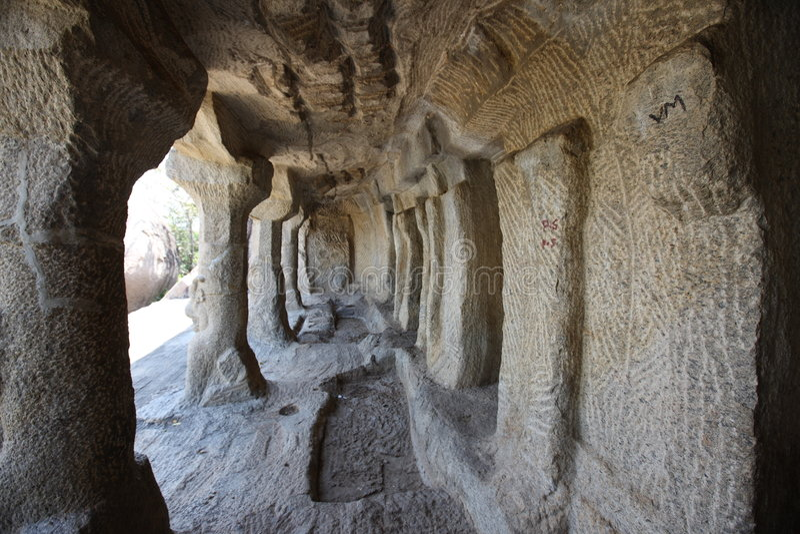 Ancient carvings. Ancient bass-relief found at Mahabalipuram Hindu temple, Mahabalipuram, Tamil Nadu, India royalty free stock photography