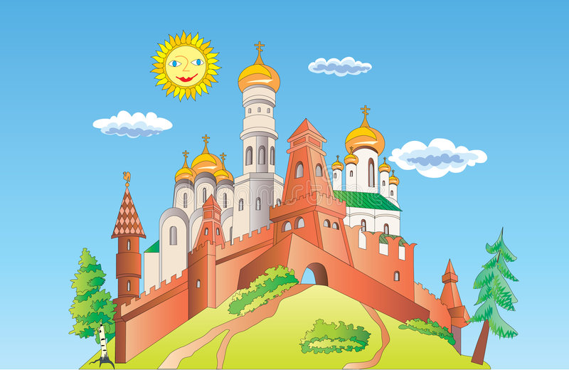 Ancient castle. Ancient vector castle. Sunday. Tower and cupola stock illustration