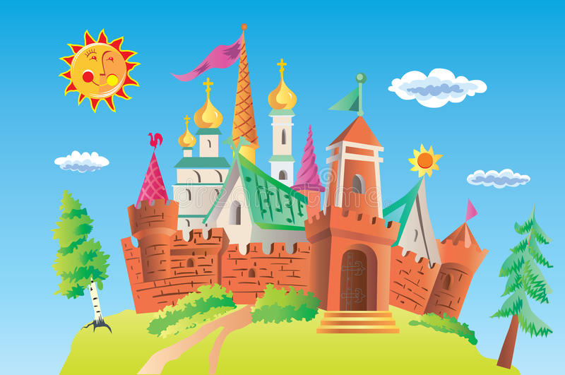 Ancient castle. Ancient vector castle. Sunday. Tower and cupola royalty free illustration