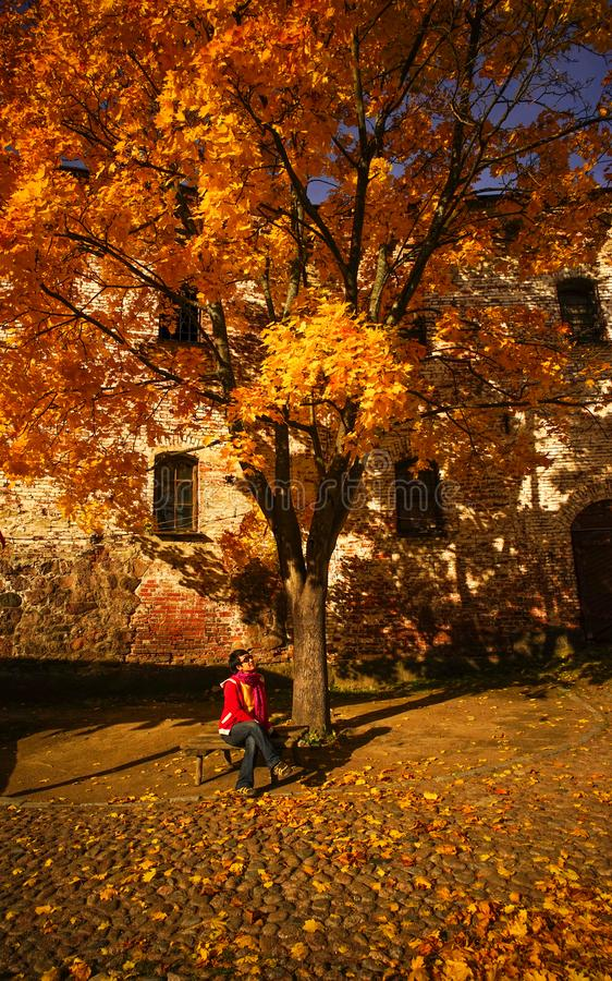 Ancient castle with autumn trees stock photo