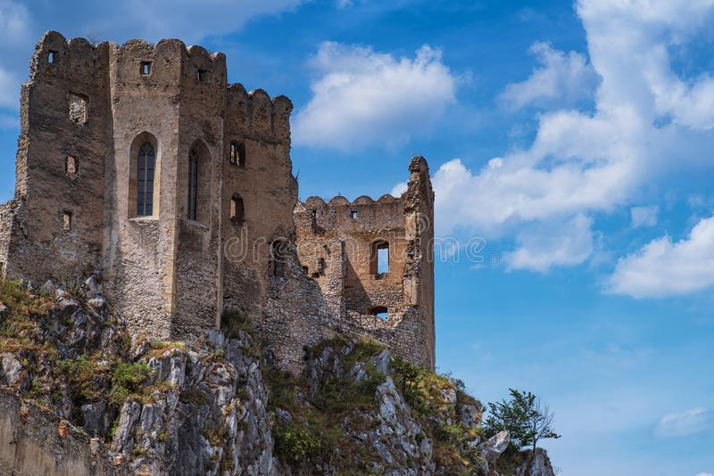 The ancient castle of Beckov. Slovak ancient ruins.Tematin castle ruins, Slovak republic, Europe. Travel destination.Backov Castle royalty free stock images