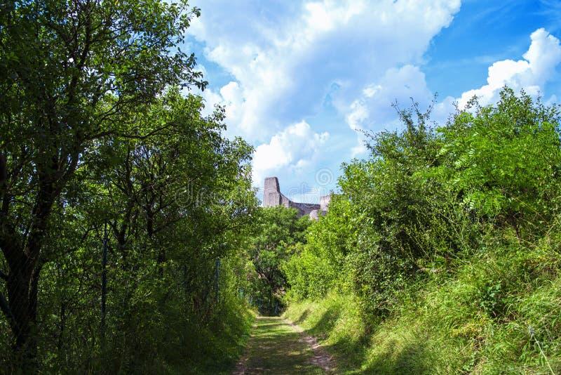 The ancient castle of Beckov. Slovak ancient ruins.Tematin castle ruins, Slovak republic, Europe. Travel destination.View of the. Backov Castle, village Beckov stock photos