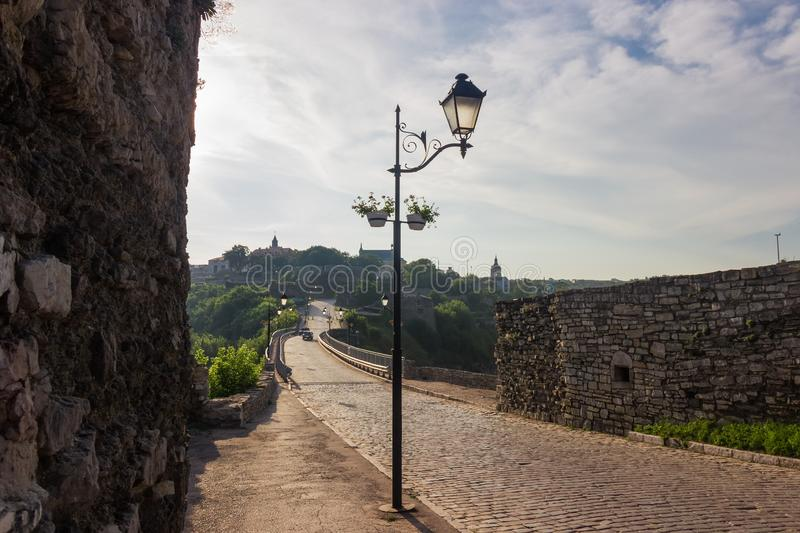 Ancient Castle Bridge and Old town, Kamianets-Podilskyi city, Ukraine stock images