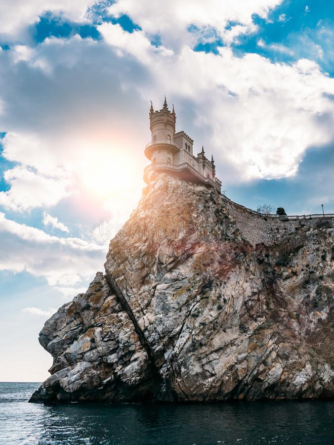 Ancient Castle on cliff of Crimea seashore Shallow Nest, famous tourist place of Yalta.  royalty free stock photo