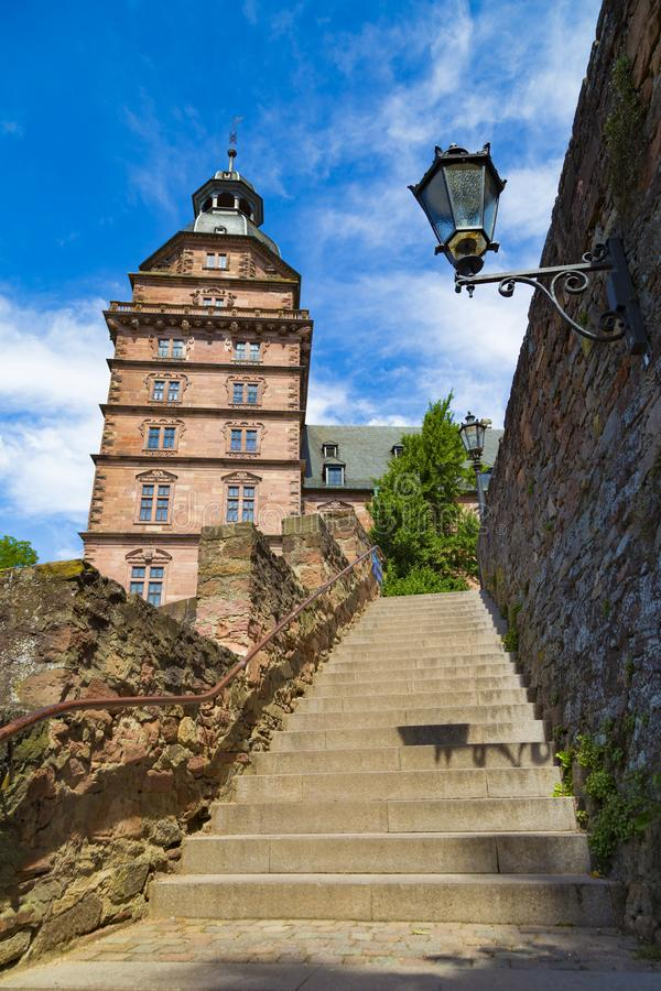 Ancient castle Johannisburg, town Aschaffenburg, Germany. Ancient Schloss Johannisburg, town Aschaffenburg, Germany at summer bright day. Staircase leading to stock photography