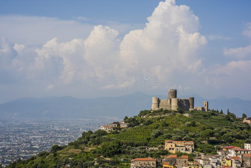 Ancient castle near Naples. Tourist target when traveling in Campania. royalty free stock image