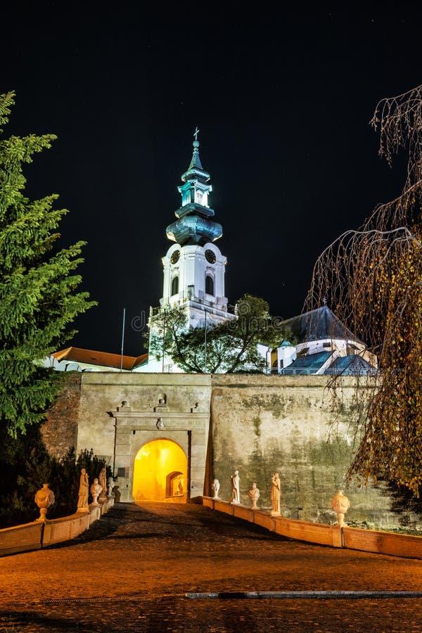 Ancient castle Nitra, Slovakia, night scene royalty free stock photo