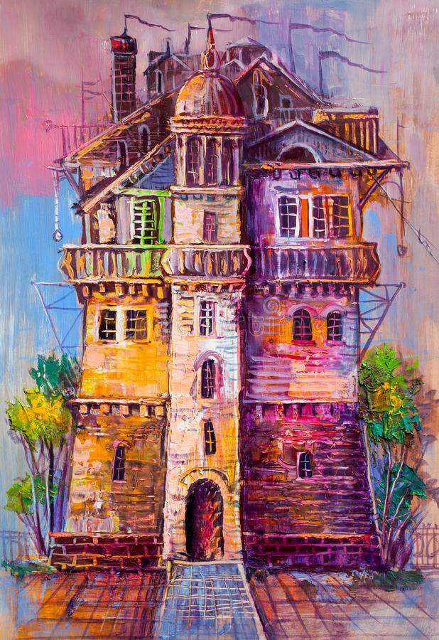 Ancient castle, oil painting. stock photos