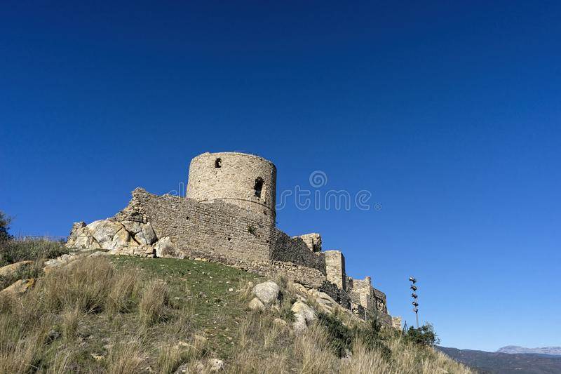 Ancient castles almohades of Andalusia, alczaba of Jimena de la Frontera in Cadiz province. Remains of the old castle of the village of Jimena de la Frontera stock image