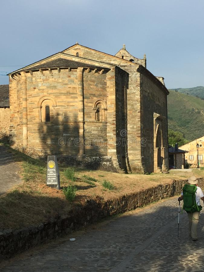 Ancient cathedral on the side of a road on the Spanish Trail, Spain. Amazing architecture to go back in time. stock image