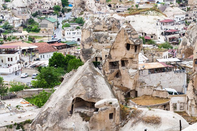 ancient cave houses in Goreme town in Cappadocia royalty free stock images