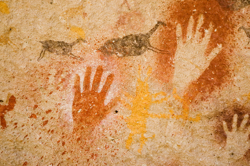 Ancient cave paintings in Patagonia royalty free stock images