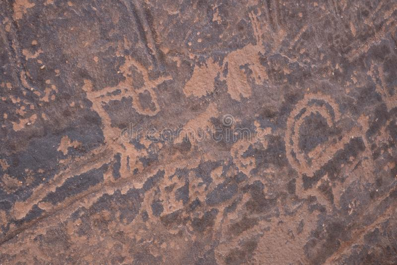 Ancient cave paintings / rock art in Ha`il Province in Saudi Arabia world heritage site royalty free stock photography