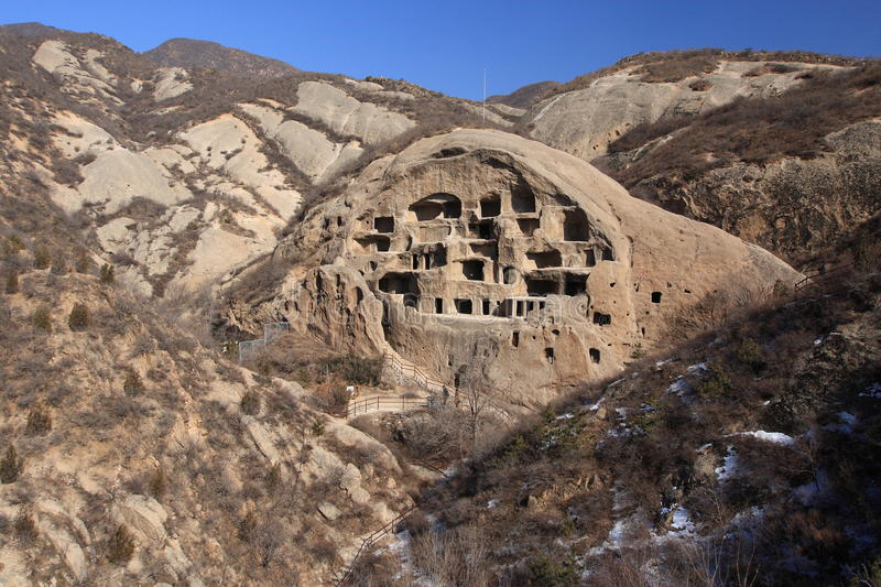 Ancient cave settlement. Guyaju site is the largest ancient cave settlement sites located in Yanqing County , Beijing, China. It has total of 117 caves dug in royalty free stock photos