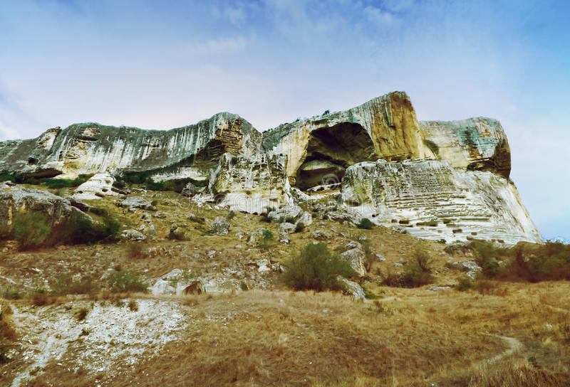 Ancient cave town/city of Crimean Tatar - Chufut-Kale, Mangup-Kale, Bakhchisaray. Historical ruins and amazing place. The Caves wa royalty free stock images