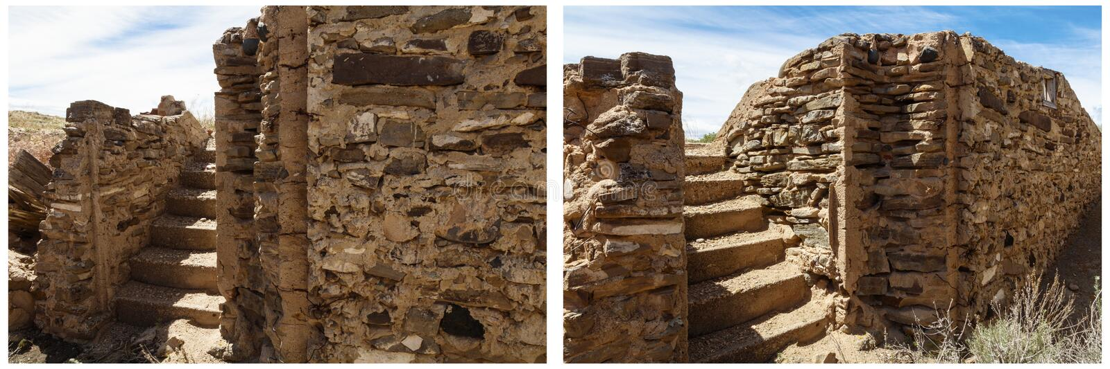 Ancient cellar stone steps wall collage. Aging cellar basement handmade stones sandstone rocks walls and stair step texture patterns historical building stock photos