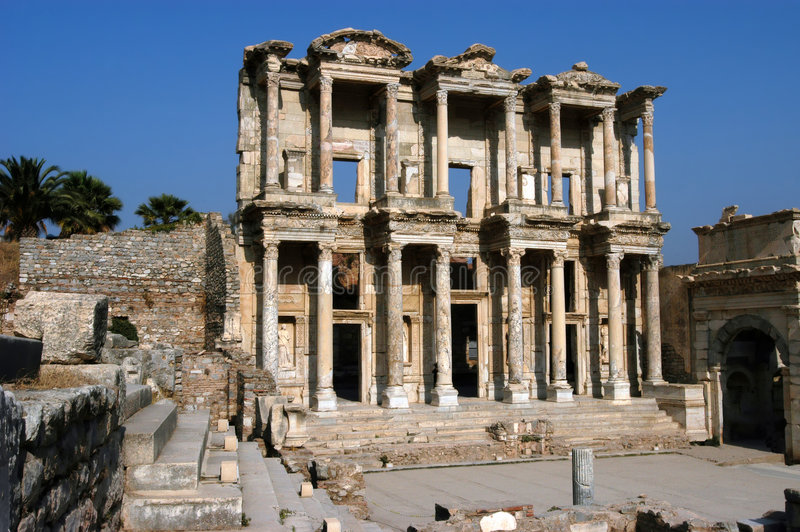 Ancient Celsius library in Efes stock photos