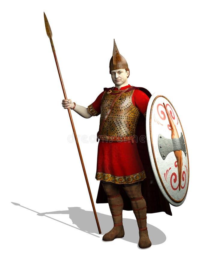 Ancient Celt Warrior. An ancient Celt Warrior is ready for battle - 3D render royalty free illustration