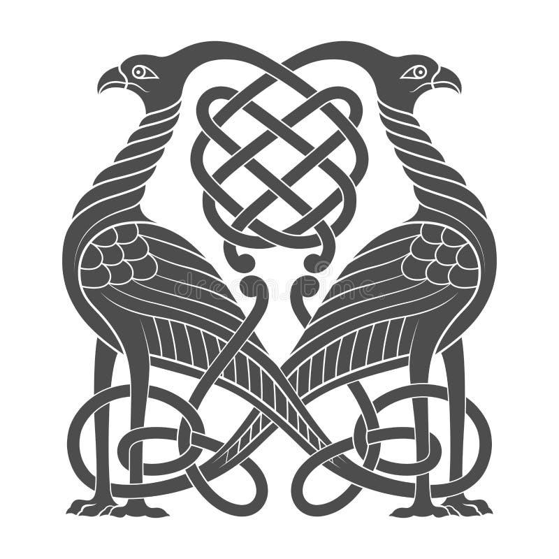 Ancient celtic mythological symbol of bird. Vector knot ornament royalty free illustration