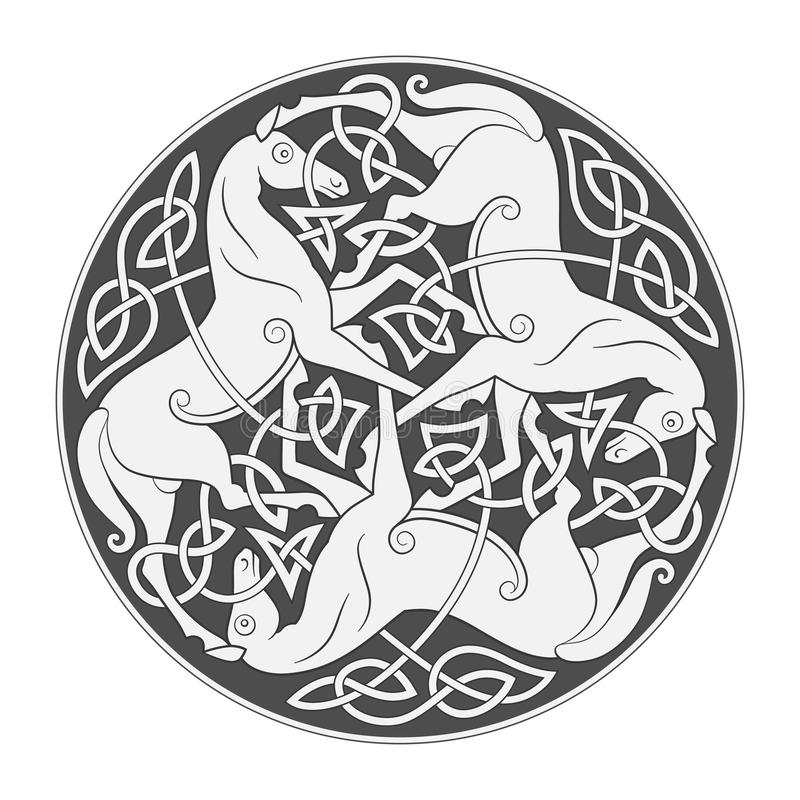 Ancient celtic mythological symbol of horse trinity. Vector knot ornament vector illustration
