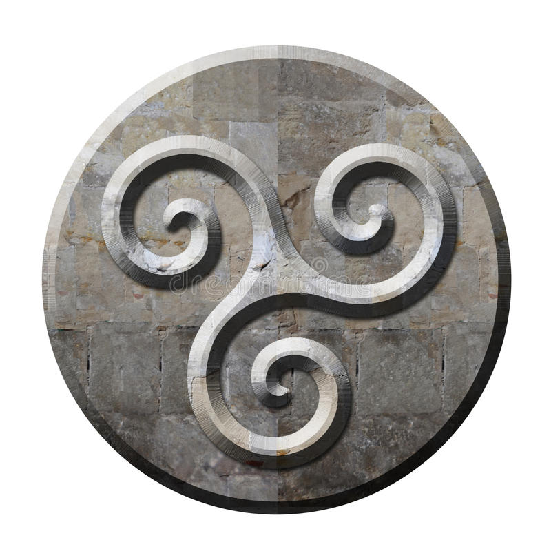 Ancient celtic triskele symbol in stone stock illustration