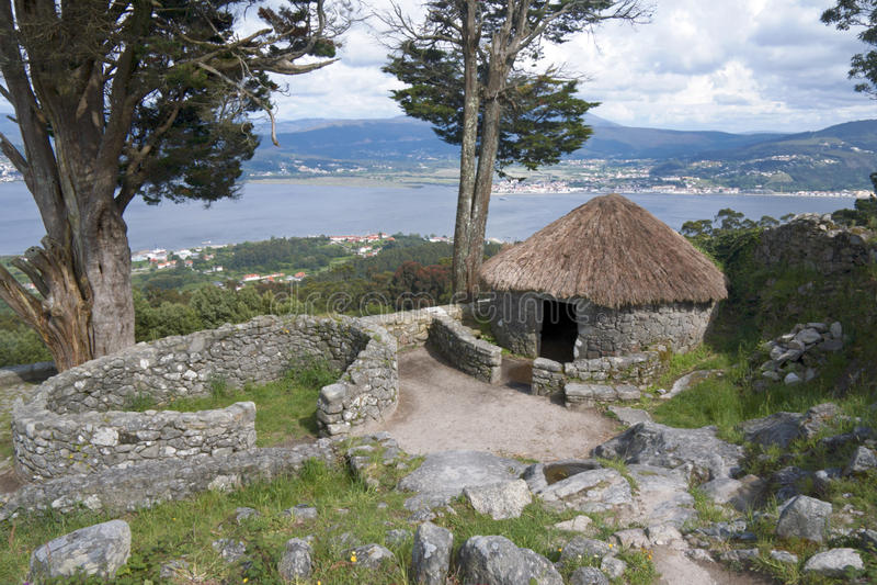 Castro de Santa Trega Celtic Village, Spain. The pre-Roman Celtic settlement of Castro de Santa Trega, with a view over the estuary of the River Minho. Galicia stock photo