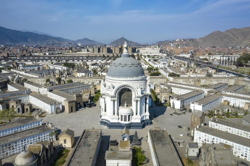Ancient cemetery `Presbitero Matias Maestro`. Lima, Peru - March 25 2019: Ancient cemetery `Presbitero Matias Maestro` the oldest in South America. Historic stock photo