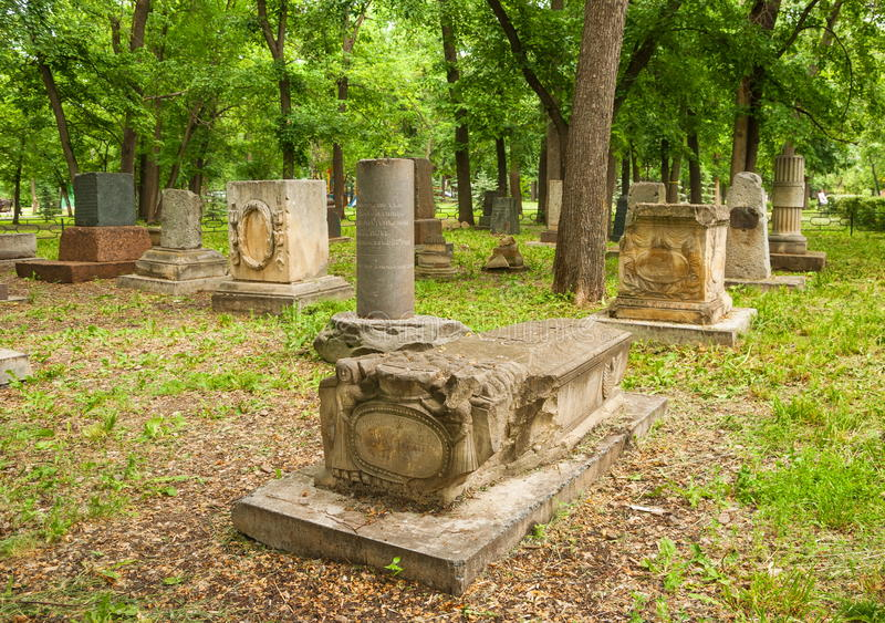 The ancient cemetery stock photo