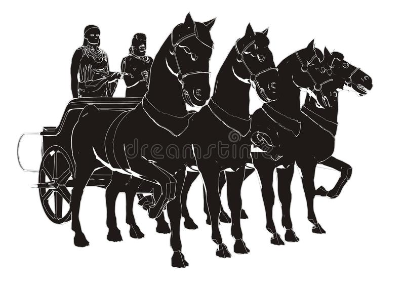 Ancient Chariot With Four Horse Paint royalty free illustration
